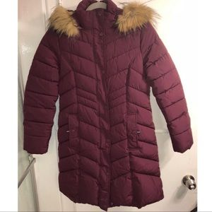 Tommy Hilfiger Long Puffer Coat with Fur Hood